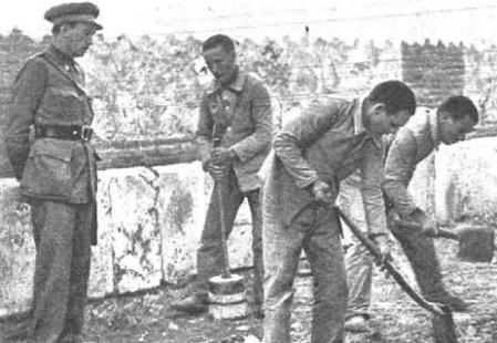 Varios presos trabajando en el Campo de Concentración de Alcalá de Henares
