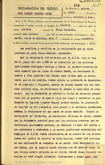 A.H.N. Sección Fondos Contemporáneos Causa GeneralSubdirección General de los Archivos EstatalesMinisterio de Cultura.España