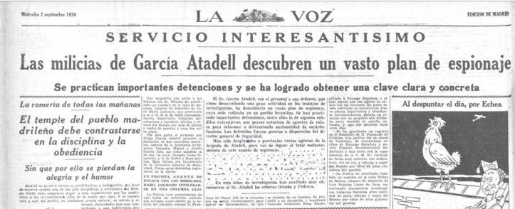 ATADELL 2 DE SEPTIEMBRE 1936. ESPIONAJE
